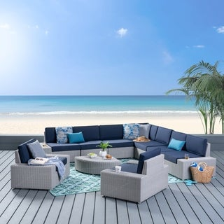 Santa Cruz Outdoor 9 Seater Sofa Set with Cushion by Christopher Knight Home