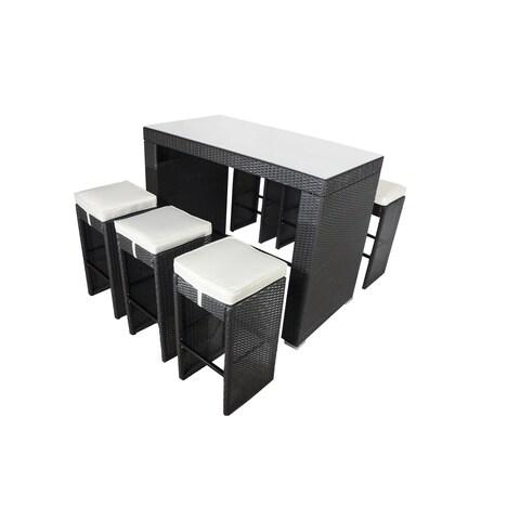 Corlane 7-PC Glass Bar-Height Dining Set-BLACK