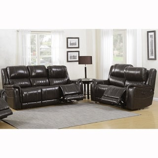 Telford Dark Grey Top Grain Leather Power Reclining Sofa and Loveseat with Power Headrests