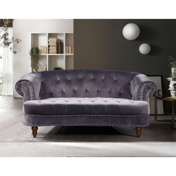 Shop Holder Nailhead Rolled Arms Velvet Chesterfield Sofa