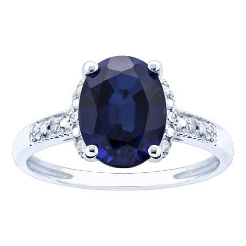 10K White Gold 3.08ct TW Sapphire and Diamond Ring - Blue