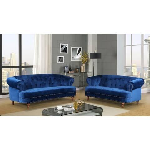 Holder Nailhead Rolled Arms Velvet Chesterfield Living Room Sofa Set