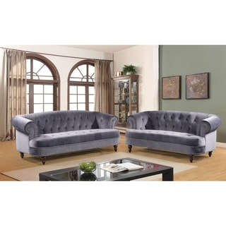 Holder Nailhead Rolled Arms Velvet Chesterfield Living Room Sofa Set