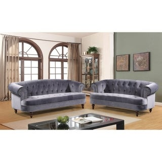 Holder Nailhead Rolled Arms Velvet Chesterfield Living Room Sofa Set (5 options available)