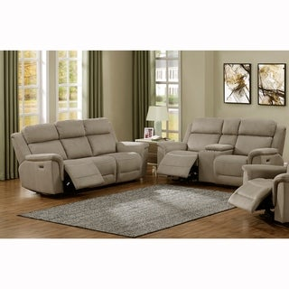 Maxim Stone Grey Power Reclining Sofa and Console Loveseat with Power Headrests