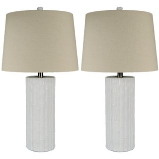 JT Lighting Bamboo Ceramic Lamp Set of 2 - 26 inches