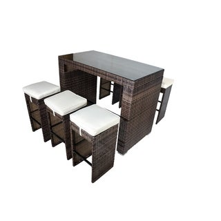 Corlane 7-PC Glass Bar-Height Dining Set-Shades of Brown