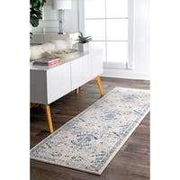 """nuLOOM Blue Traditional Faded Mountain Honeycomb Runner Area Rug - 2'8"""" x 8'"""