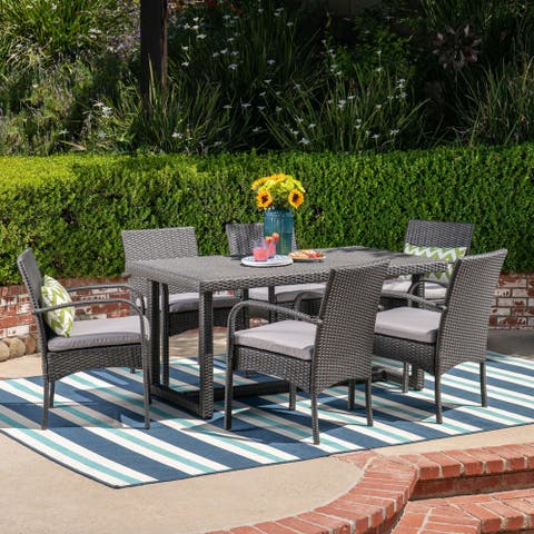 Harlowe Outdoor 7 Piece Wicker Dining Set with Cushions by Christopher Knight Home