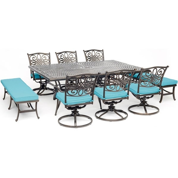 "Hanover Traditions 9-Piece Dining Set in Blue with 6 Swivel Chairs, 2 Benches, and a 60"" x 84"" Cast-Top Dining Table"