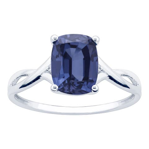 10K White Gold 2.95ct TW Tanzanite and Diamond Ring - Purple