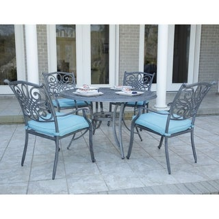 "Hanover Traditions 5-Piece Dining Set in Blue with 4 Chairs and a 48"" Round Table in a Gray Finish"