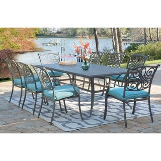 "Hanover Traditions 9-Piece Dining Set in Blue with 8 Stationary Chairs and a 42"" x 84"" Dining Table in a Gray Finish"