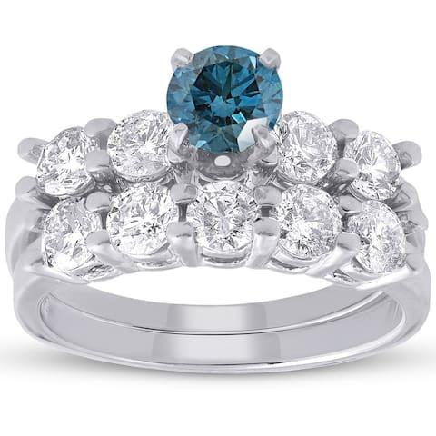 Pompeii3 14k White Gold 2 1/2ct TDW Blue & White Diamond Engagement Wedding Ring Set 14k White Gold