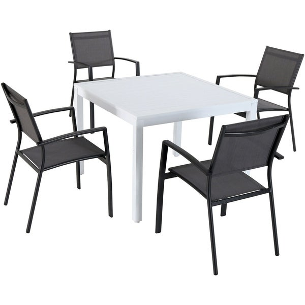 "Hanover Del Mar 5-Piece Outdoor Dining Set with 4 Sling Arm Chairs and a 38"" Square Dining Table"