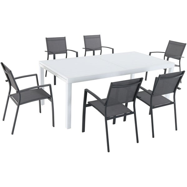 """Hanover Del Mar 7-Piece Outdoor Dining Set with 6 Sling Chairs in Gray and a 40"""" x 118"""" Expandable Dining Table"""