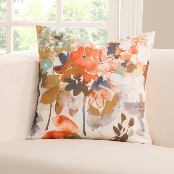 Siscovers Summer Set Peach Floral Designer Throw Pillow