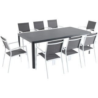 """Hanover Fresno 9-Piece Outdoor Dining Set with 8 Sling Arm Chairs and a 42"""" x 83"""" Glass-Top Table"""