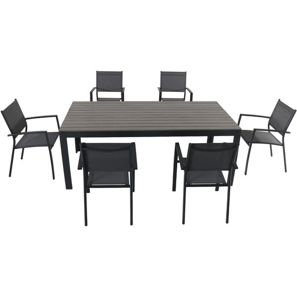 Hanover Tucson 7 Piece Dining Set With 6 Sling Arm Chairs And A Faux Wood