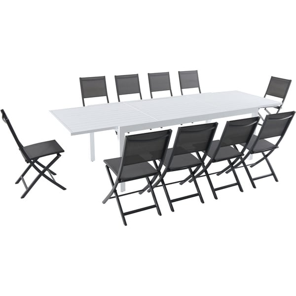 "Hanover Del Mar 11-Piece Outdoor Dining Set with 10 Folding Sling Chairs in Gray and a White 40"" x 118"" Expandable Dining Table"