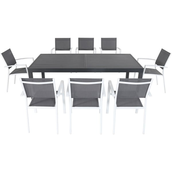 Hanover Naples 9-Piece Dining Set in Gray/White
