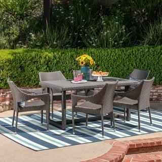 Abbott Outdoor 7 Piece Wicker Dining Set by Christopher Knight Home