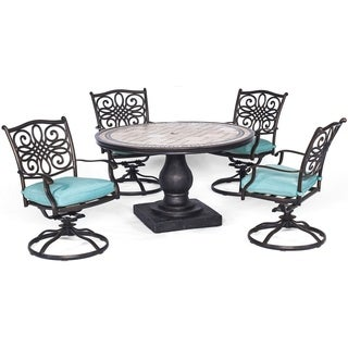 Hanover Monaco 5-Piece Dining Set in Blue with Four Swivel Rockers and a 51 In. Tile-Top Table