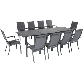 """Hanover Naples 11-Piece Outdoor Dining Set with 10 Padded Sling Chairs in Gray and a 40"""" x 118"""" Expandable Dining Table"""