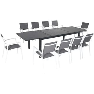 """Hanover Naples 11-Piece Outdoor Dining Set with 10 Sling Chairs in Gray/White and a 40"""" x 118"""" Expandable Dining Table"""