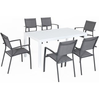 "Hanover Del Mar 7-Piece Outdoor Dining Set with 6 Sling Chairs in Gray and a 78"" x 40"" Dining Table"
