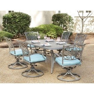 "Hanover Traditions 7-Piece Dining Set in Blue with 6 Swivel Rockers and a 38"" x 72"" Dining Table in a Gray Finish"