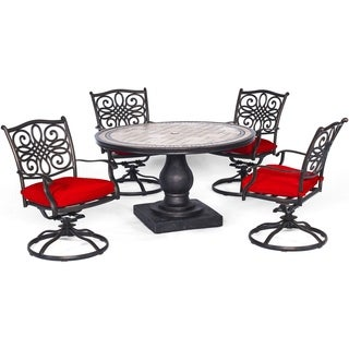 Hanover Monaco 5-Piece Dining Set in Red with Four Swivel Rockers and a 51 In. Tile-Top Table