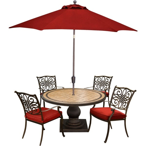 Hanover Monaco 5-Piece Dining Set in Red with 4 Cushioned Dining Chairs, a 51-Inch Tile-Top Table, and a 9-Foot Umbrella