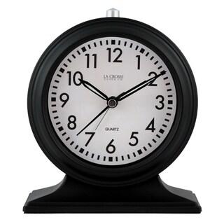 La Crosse Clock 617-3014 Silent Sweep Black Mantel Alarm Clock