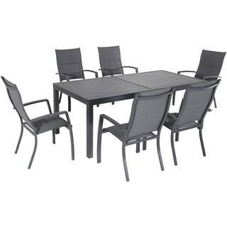 """Naples 7-Piece Outdoor Dining Set with 6 Padded Sling Chairs in Gray and a 63"""" x 35"""" Dining Table"""