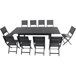 """Hanover Cameron 11-Piece Expandable Dining Set with 10 Folding Sling Chairs and a 40"""" x 94"""" Table"""