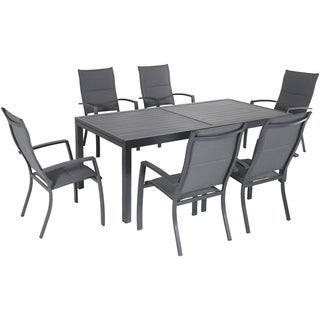 """Hanover Naples 7-Piece Outdoor Dining Set with 6 Padded Sling Chairs in Gray and a 40"""" x 118"""" Expandable Dining Table"""