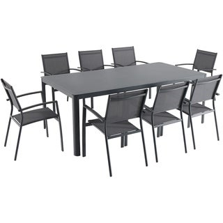 "Hanover Fresno 9-Piece Outdoor Dining Set with 8 Sling Arm Chairs and a 42"" x 83"" Glass-Top Table"