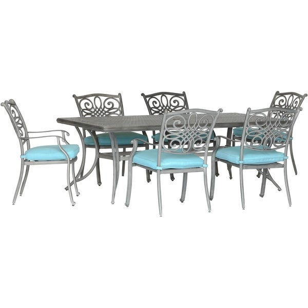 """Hanover Traditions 7-Piece Dining Set in Blue with 6 Stationary Chairs and a 38""""x72"""" Dining Table in a Gray Finish"""