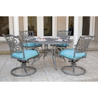Hanover Traditions 5-Piece Dining Set with 4 Swivel Rockers and a 48 in. Round Table in a Gray Finish