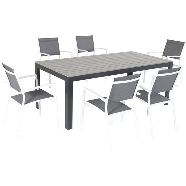 Hanover Tucson 7-Piece Dining Set with 6 Sling Arm Chairs and a Faux Wood Dining Table