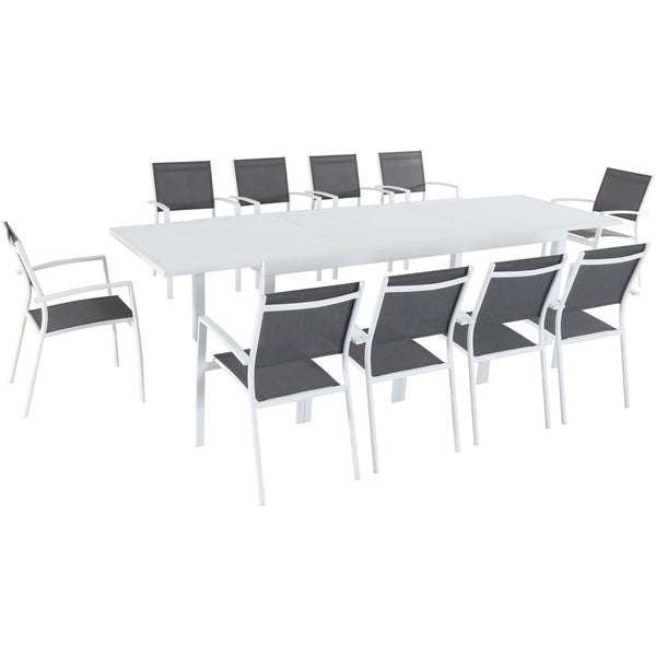Hanover Del Mar 11 Piece Outdoor Dining Set With 10 Sling Chairs In Gray/