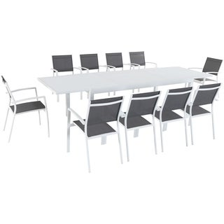 "Hanover Del Mar 11-Piece Outdoor Dining Set with 10 Sling Chairs in Gray/White and a 40"" x 118"" Expandable Dining Table"