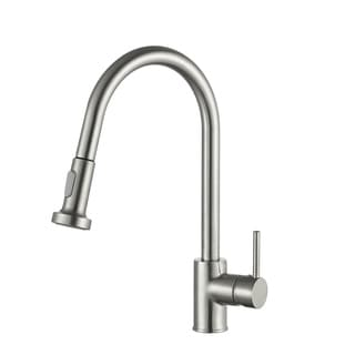 Link to ANZZI Tycho Single-Handle Pull-Out Sprayer Kitchen Faucet in Brushed Nickel - Silver Similar Items in Faucets