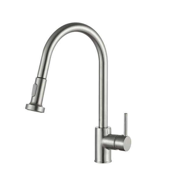 Anzzi Tycho Single Handle Pull Out Sprayer Kitchen Faucet In Brushed Nickel Silver