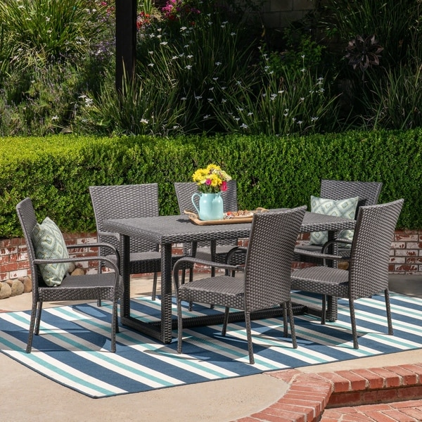 Melville Outdoor 7 Piece Wicker Dining Set by Christopher Knight Home