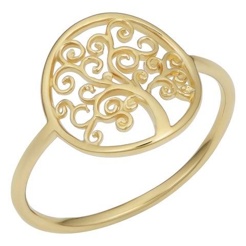 Fremada Italian 14k Yellow Gold Tree of Life Ring