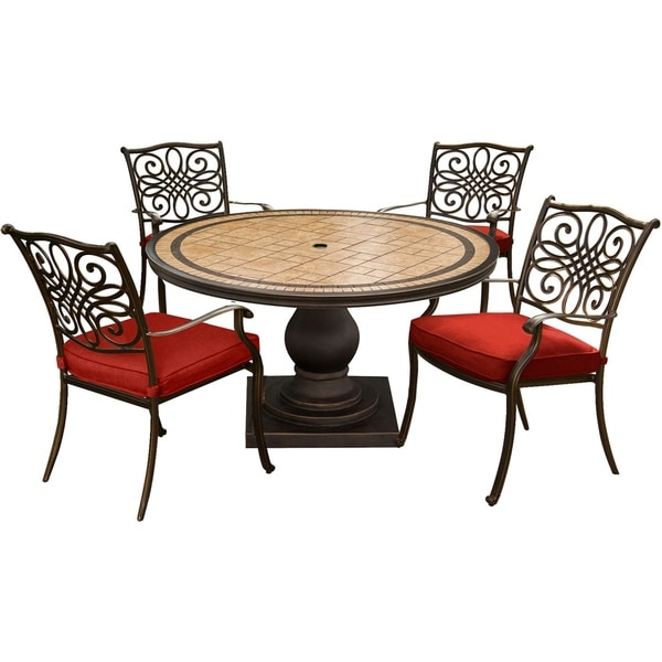 Hanover Monaco 5-Piece Dining Set in Red with 4 Cushioned Dining Chairs and a 51 In. Tile-Top Table