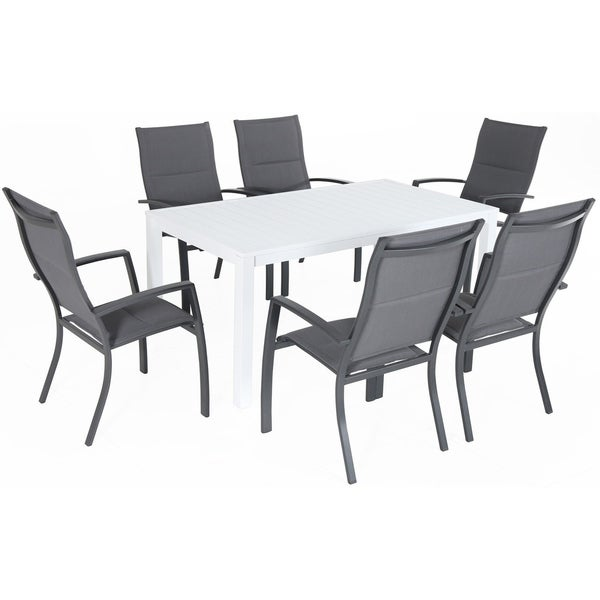 "Hanover Del Mar 7-Piece Outdoor Dining Set with 6 Padded Sling Chairs in Gray and a 78"" x 40"" Dining Table"