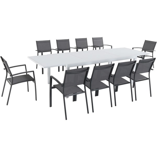 Hanover Del Mar 11 Piece Outdoor Dining Set With 10 Sling Chairs In Gray And